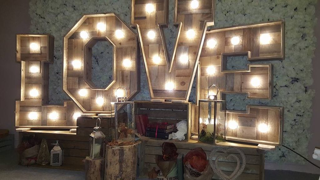 Rustic 4ft LOVE Letters from Sheffield Wedding DJ